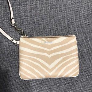 Tan Zebra Striped Coach Wristlet